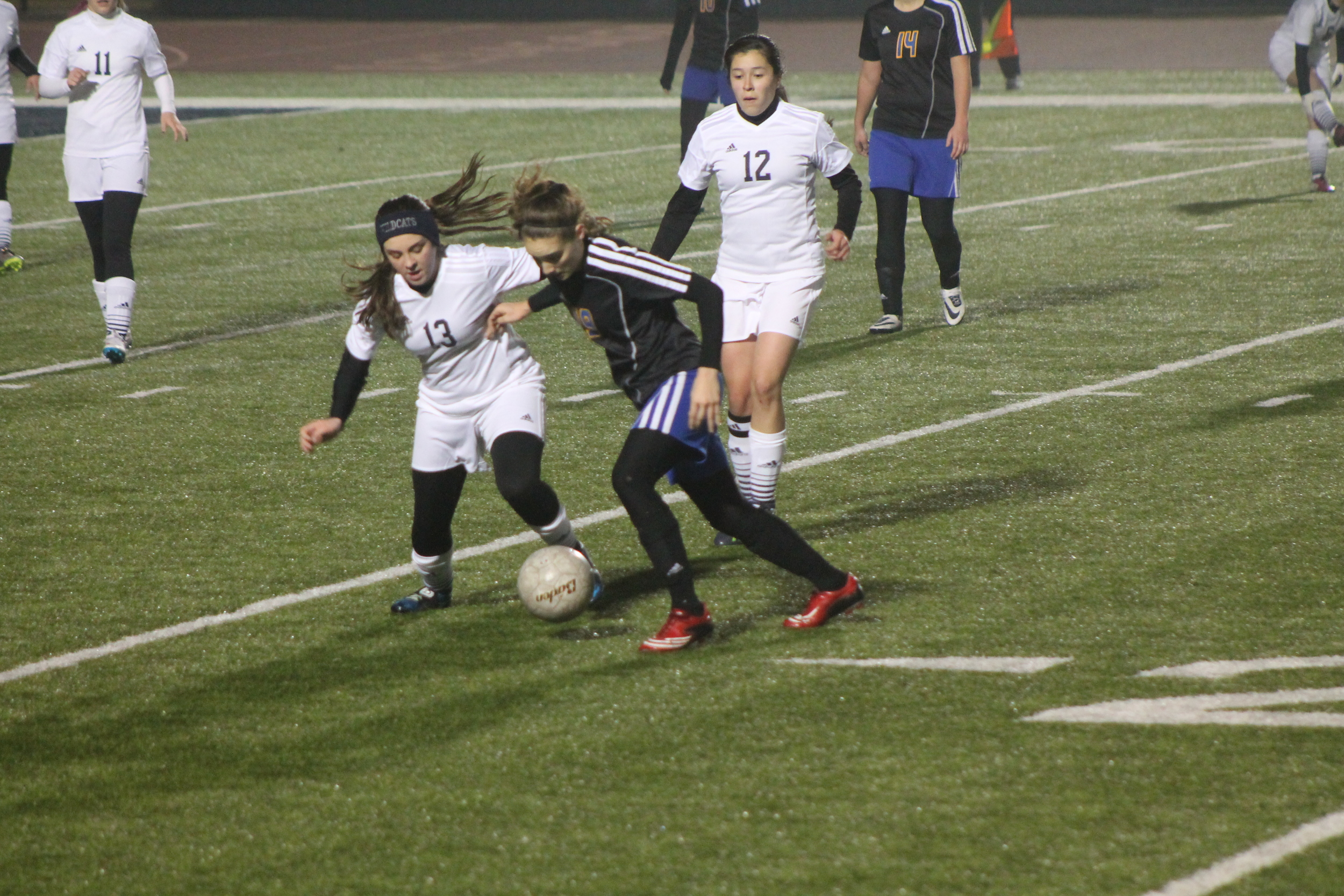 (Photo by Adam Routon) Madison Morrison contesting for the ball against Paris High