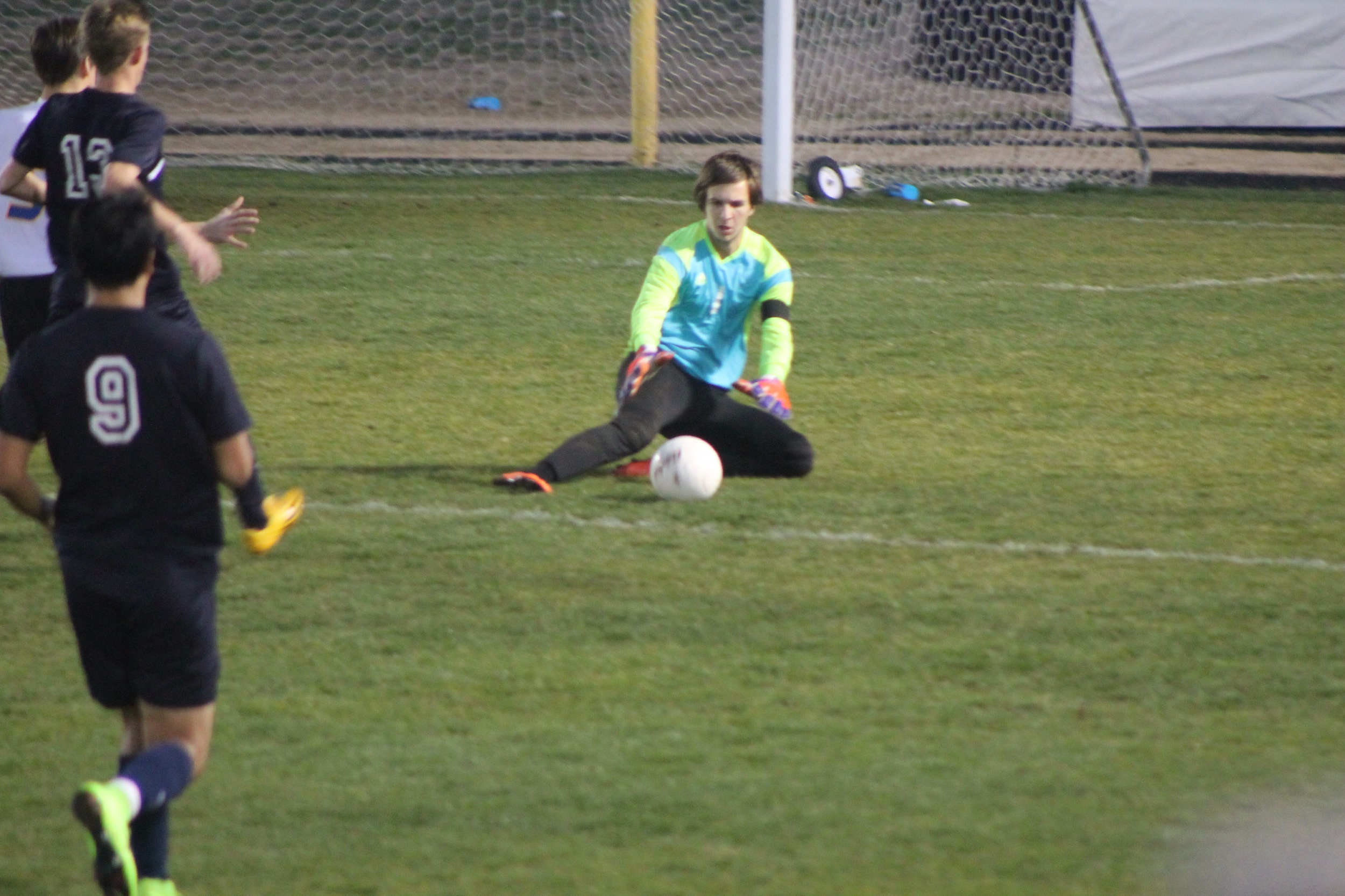 (Phot by Jared Routon) Goalie Nick West makes a save for North Lamar.
