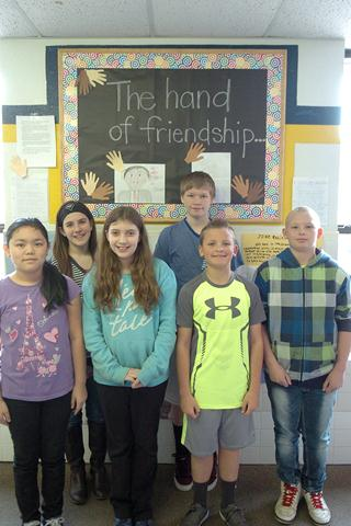 Toni Preston's reading class at Bailey Intermediate studied famous African Americans in the United States. Pictured and representing their class beginning front row left are Makenzie Bell, Avery Moreland, Brice Haley and Chase Bell.  In back are Jillian Jones and T. J. Norlin.