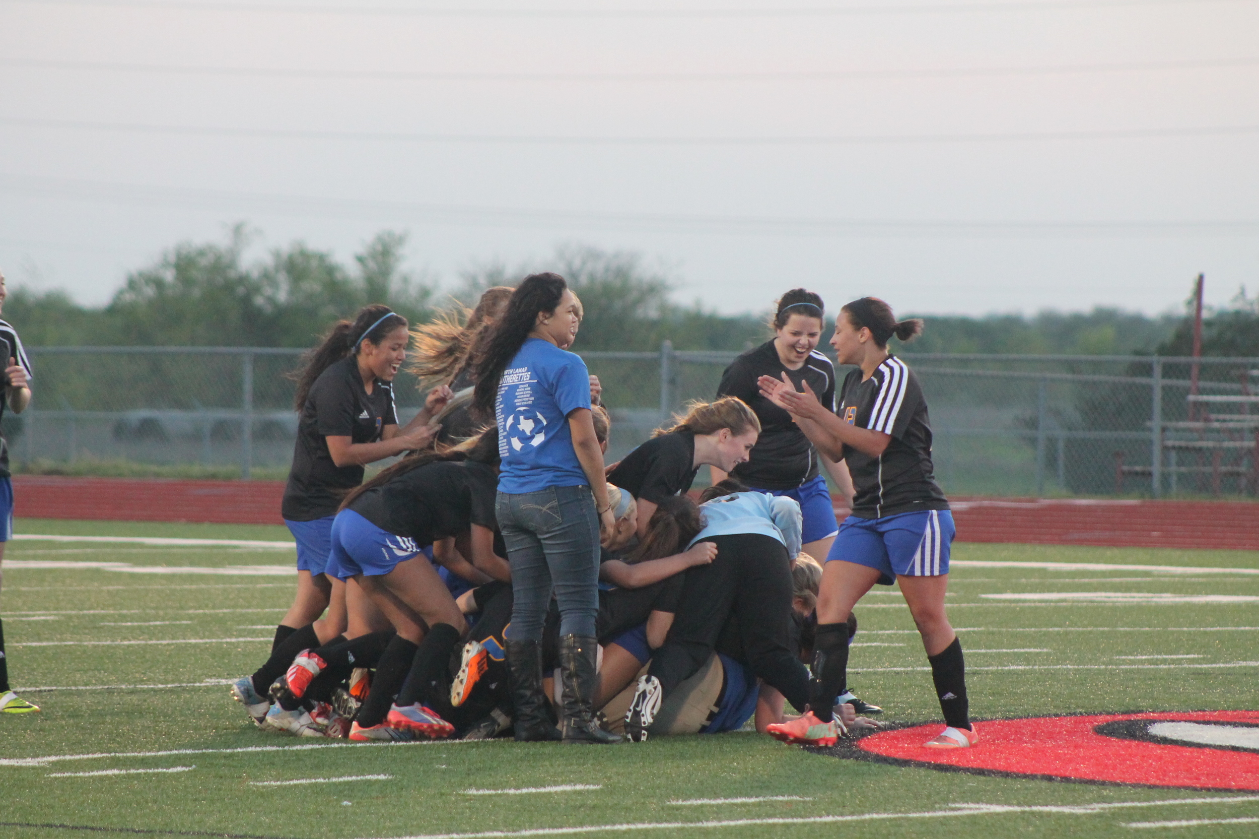 (Photos by Adam Routon) Pantherettes celebrating after their Area Championship Friday Night.