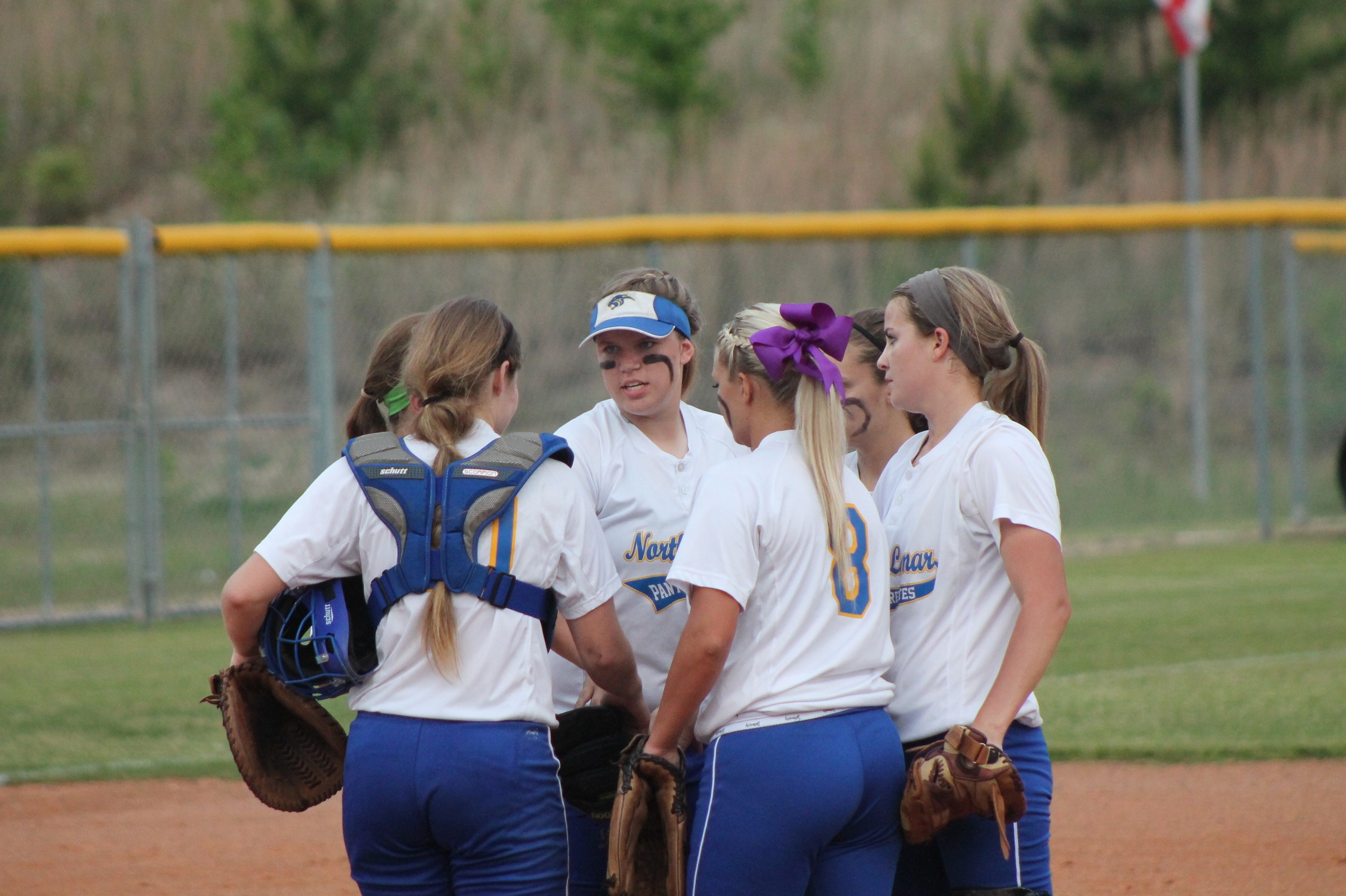 Infield meeting at the pitchers circle after Reagan struck out a batter.