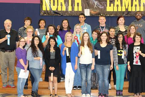 North Lamar High School students brought home ribbons after competing at the NET OLE competition in Commerce. Showing their winning ribbons beginning front row left are Elizabeth Gilbert, Abigail Blodgett, Lilliana Arroyo, Jessica Driggers, Bayleigh Jordan, Heather Armstrong, Megan Grogan, and sponsor Alison Hayter; middle row, sponsor William St. John, Shelby Beaty, Rosa Chavez, Amber White, Faviola Tinoco, Topanga Mossiah, and Chloe Whisenhunt; and back row, Skylor Justice, Michelle Chavez, Leslie Cortez, Alex Ramirez, Kevin Dawson, Kay Edwards, and Jordan Walters. Not shown are Luke Fowler, Jaxon Hevron, Skylor Justice, Korbin Hamner, and Merilyn Campbell.