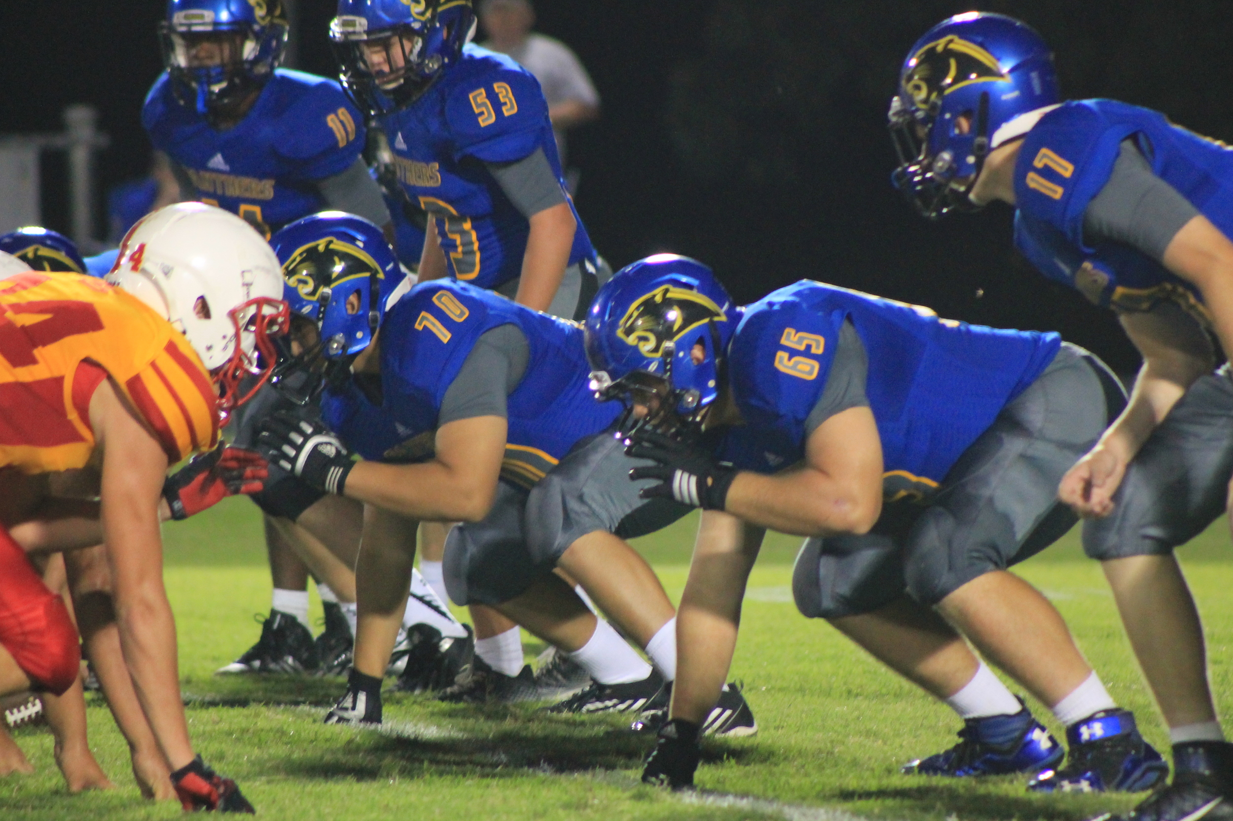 (Photo by Adam Routon) Defensive Line: Stephon Bass (11), Nick Noble (53), Samuel Flores (70), Brandon Halliday (65) and Tyler Biard (17)