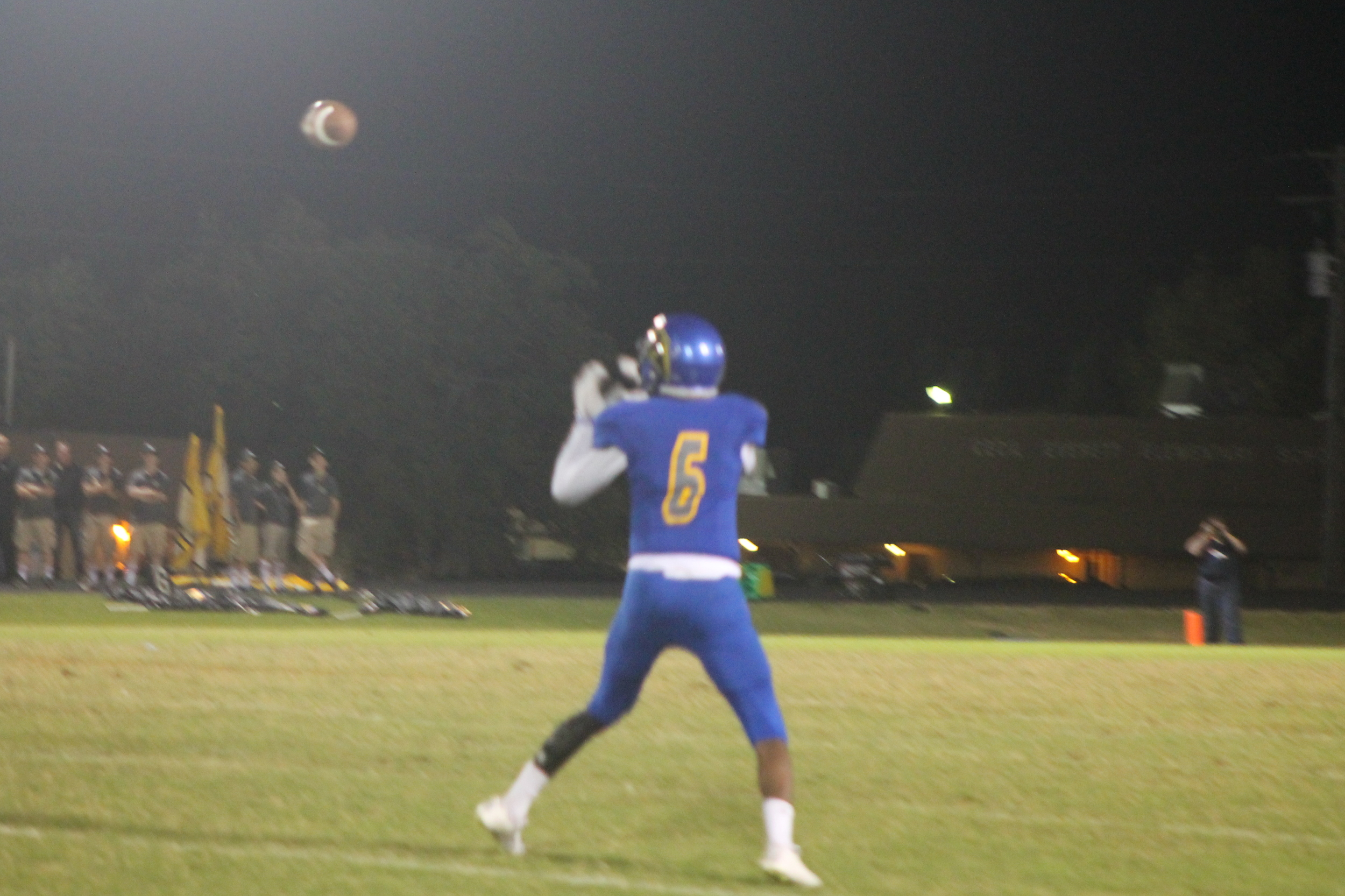 (Photo by Adam Routon) Julique Franklin with a catch Friday night.
