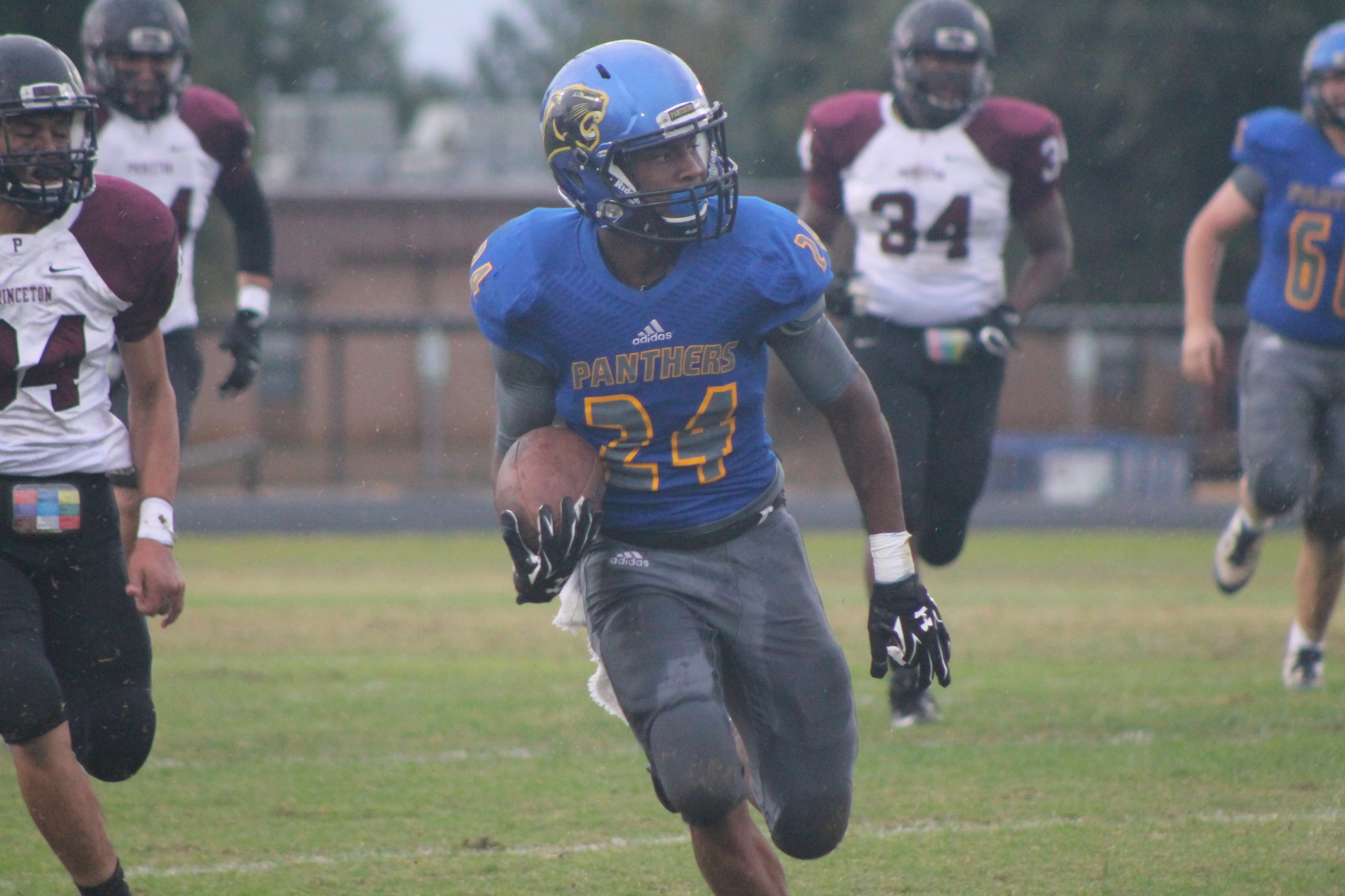 (Photo by Maddy Routon) Javon Franklin with a touchdown run against Princeton Friday night.