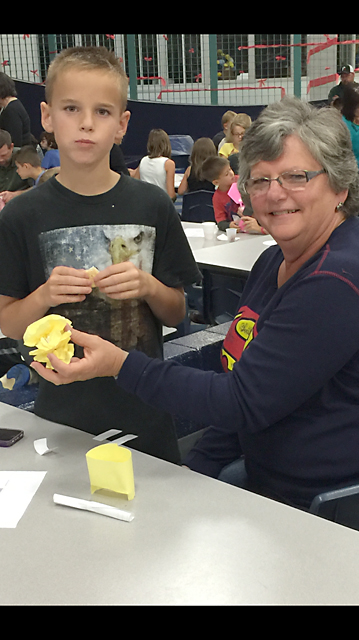 Anthony Towers, 4th grade, with his grandmother Barbara Towers.