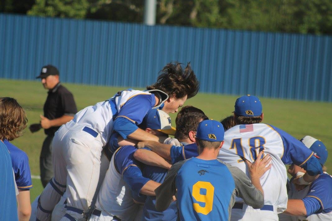(Photo by Amanda Anderson) Panthers dog piling each other after their dramatic series win on Saturday.