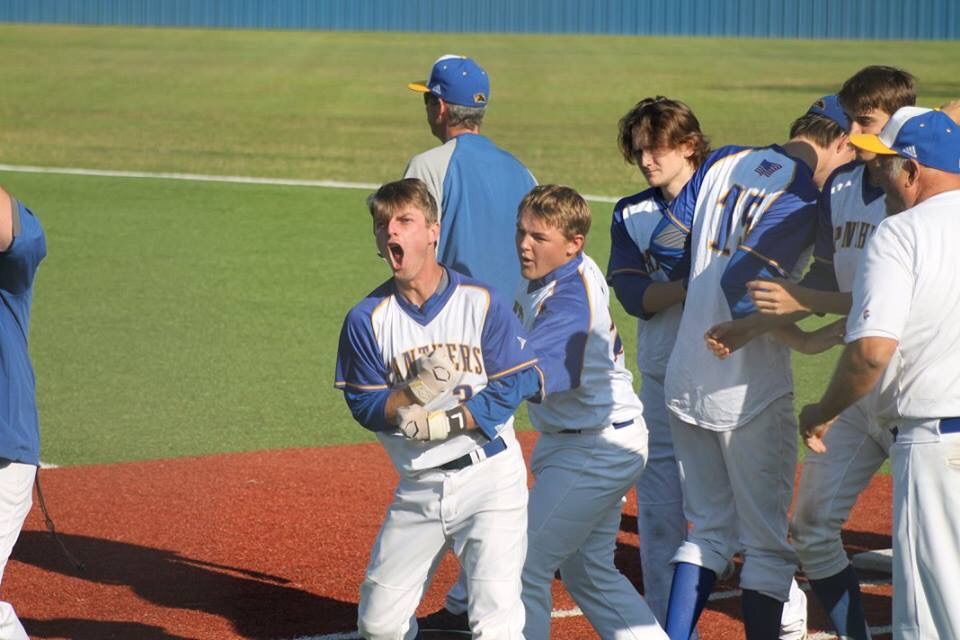 (Photo by Amanda Anderson) Brayden Steed (3) showing his emotion after his game winning hit in the eighth inning of game three.