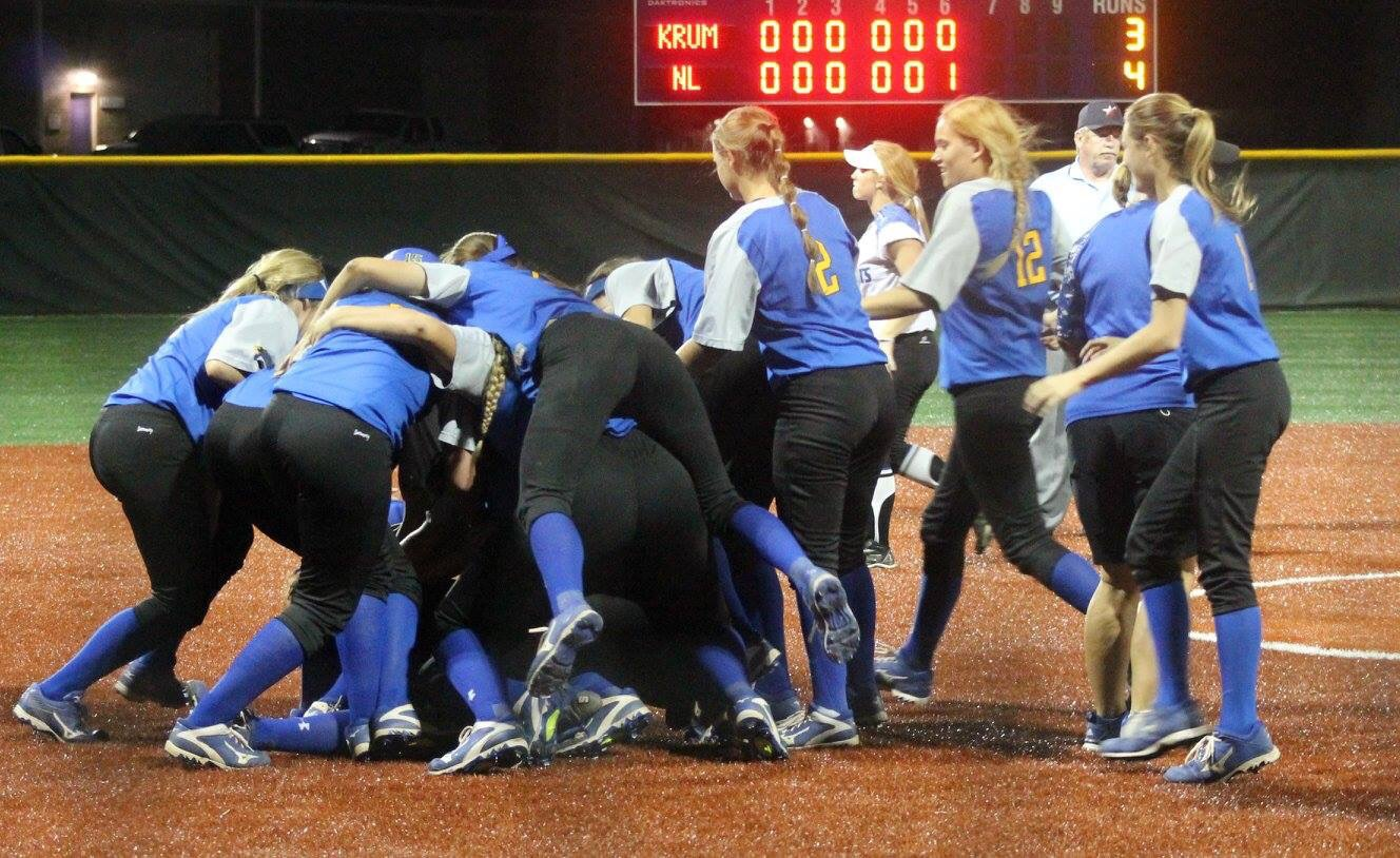 (Photo by Amber Clark) Pantherettes celebrating after a 16-inning victory.