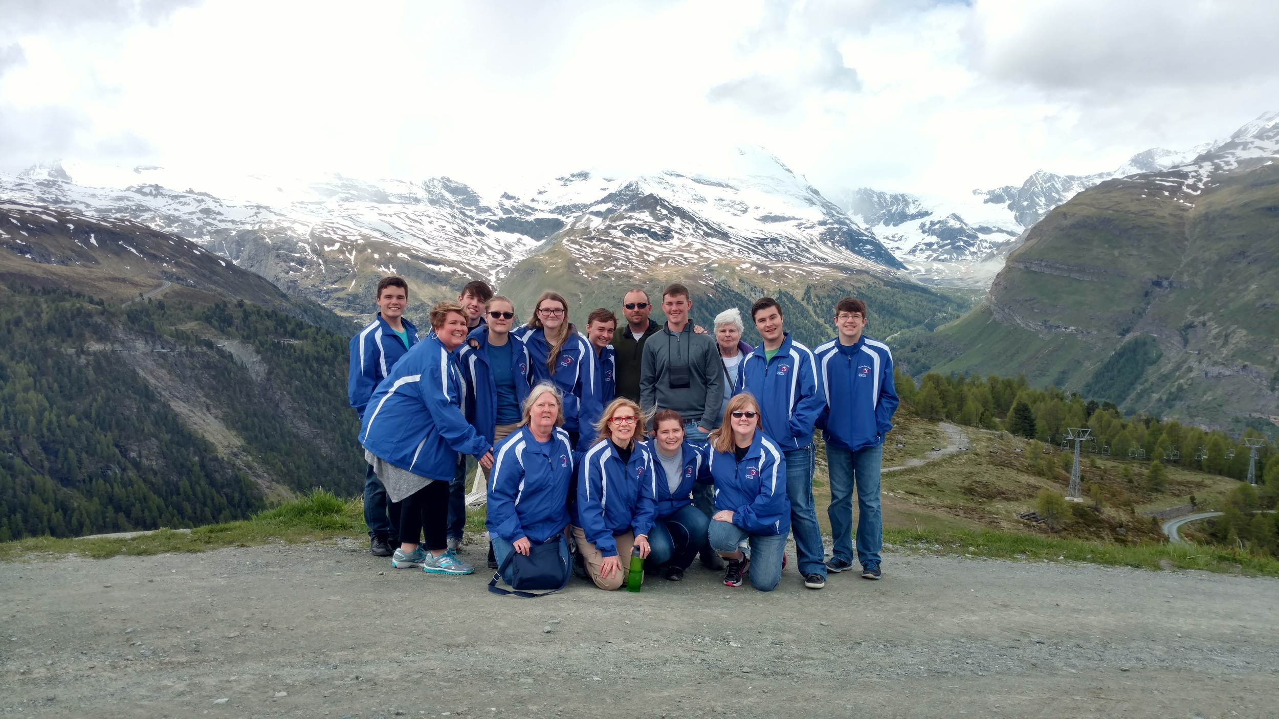 A few parents and grandparents joined the North Lamar and Paris band students as they represented Texas in Europe. Above, the Lamar County group gathered at the base of the Matterhorn Mountain in Switzerland.