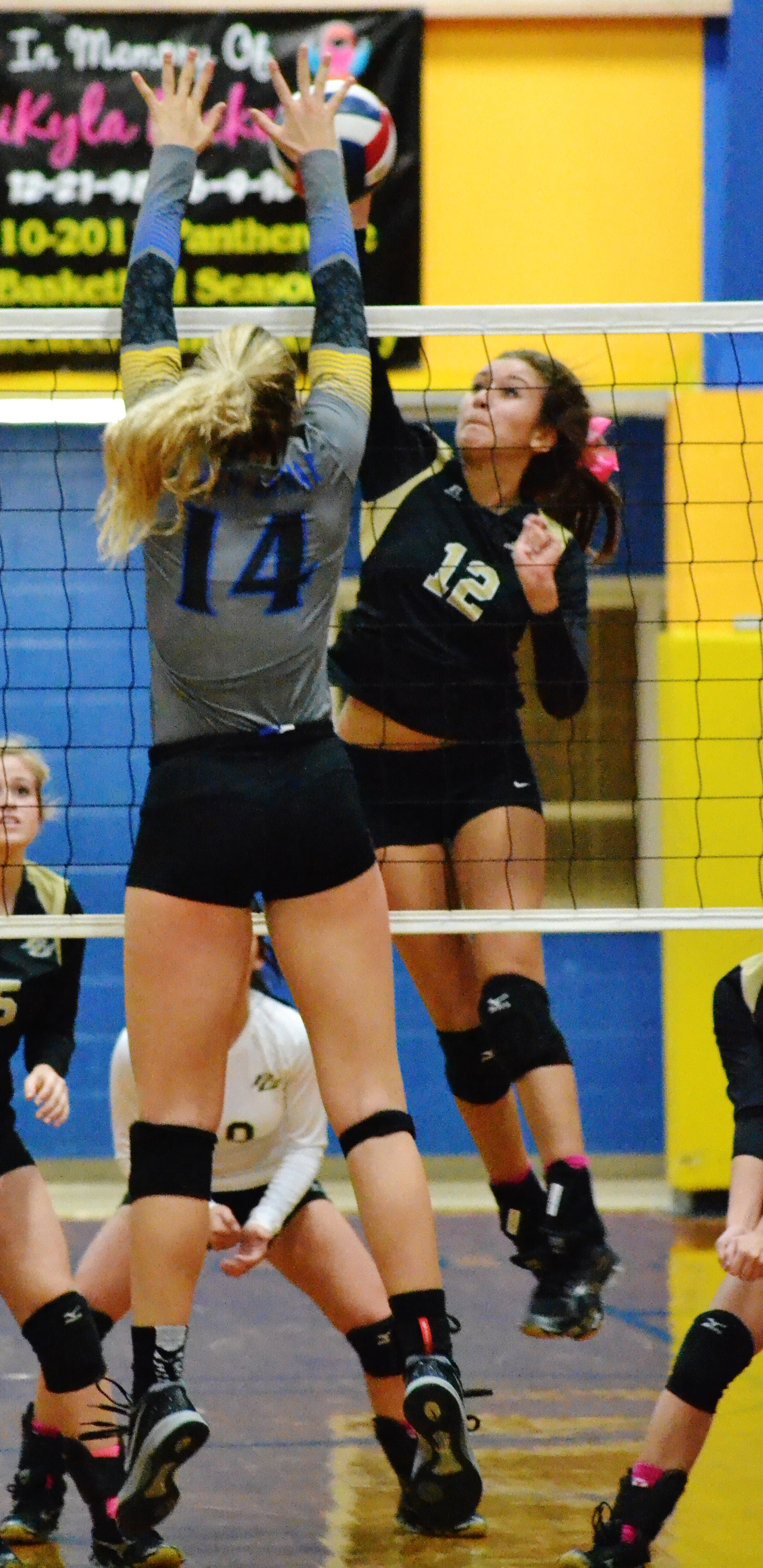 (Photo by Beverly White) Bailey Foy with a block against Pleasant Grove on Tuesday night.