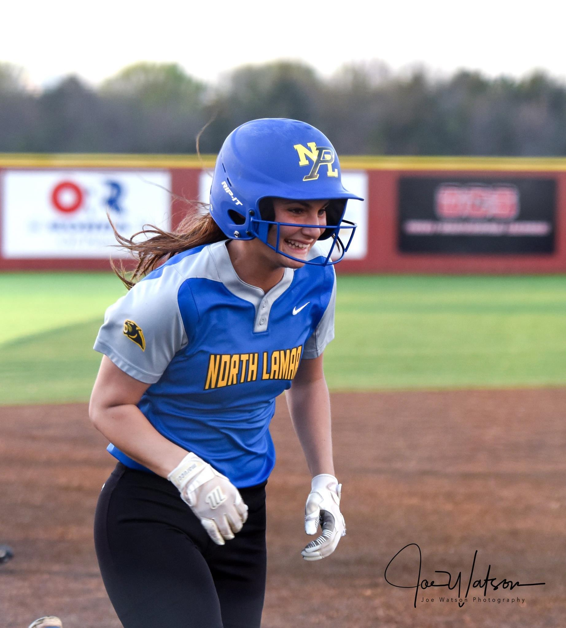 (Photo by Joe Watson) Madison Morrison rounding third base after a first inning home run against Paris.