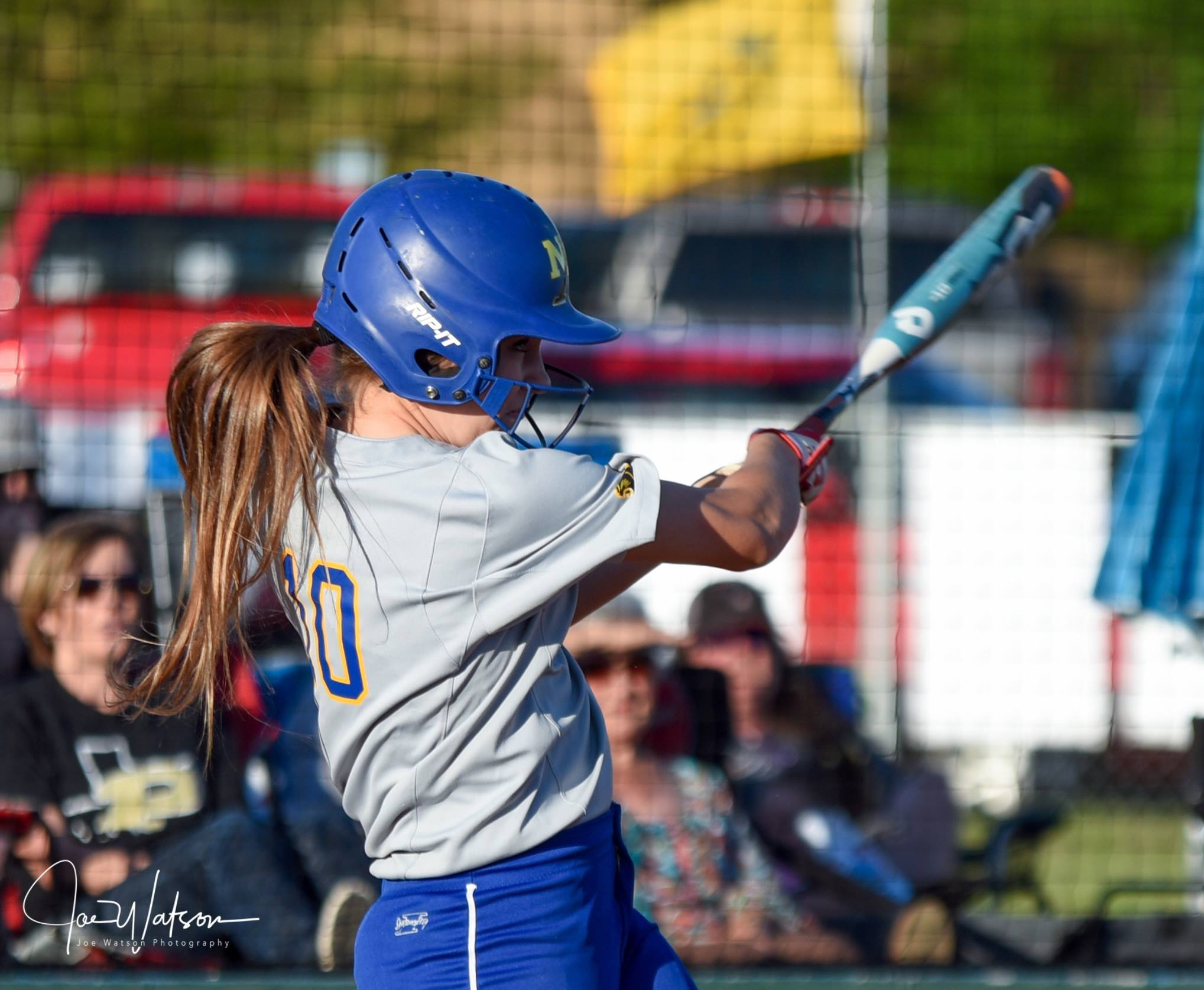 (Photo by Joe Watson) Bailee Nickerson with a two-run homer against Pittsburg Friday.