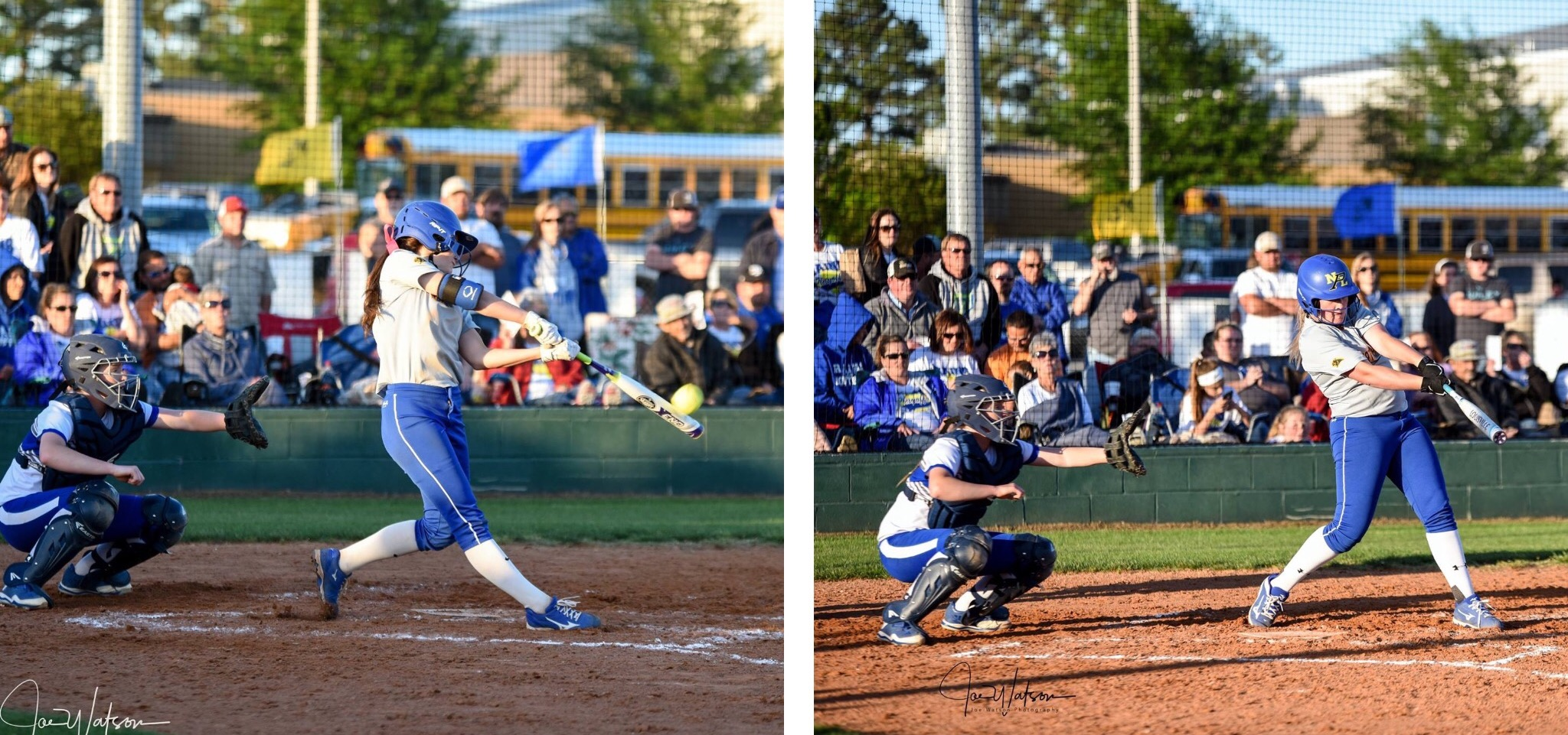 (Both photos by Joe Watson) Reagan Richardson (left) and Brooke Collard with homeruns in the fourth inning of North Lamar's win over Rains.