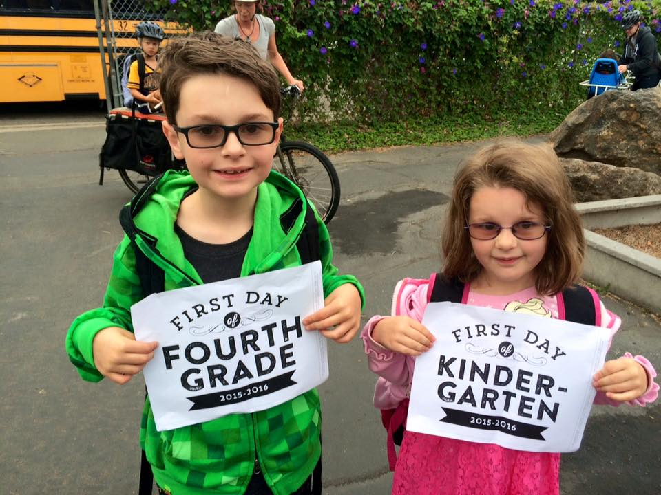 Elliott and Junia's First Day of School, 2015
