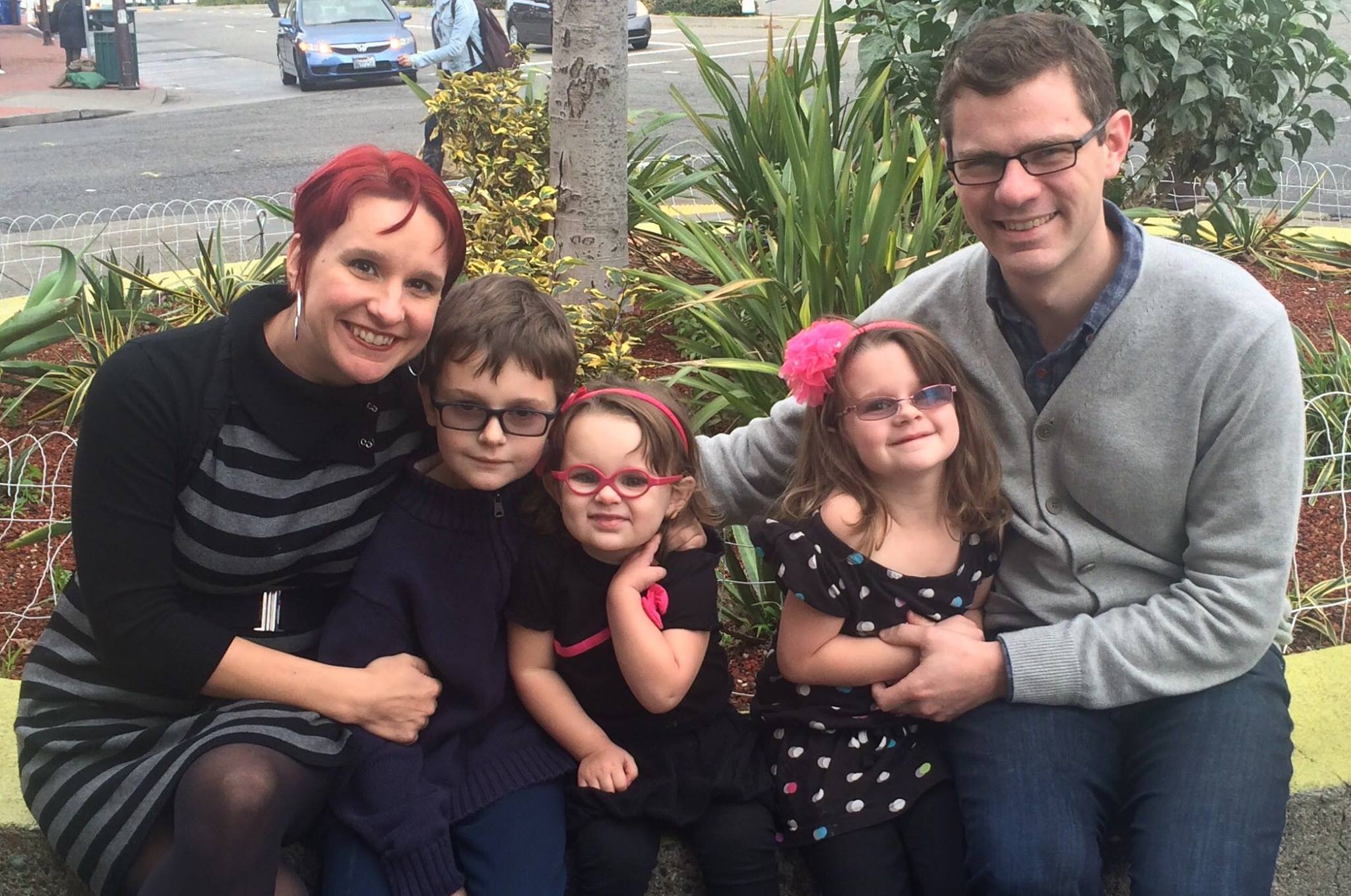 The Martens in Downtown Berkeley: Leah, Elliott, Gwendolyn, Junia, and Jason