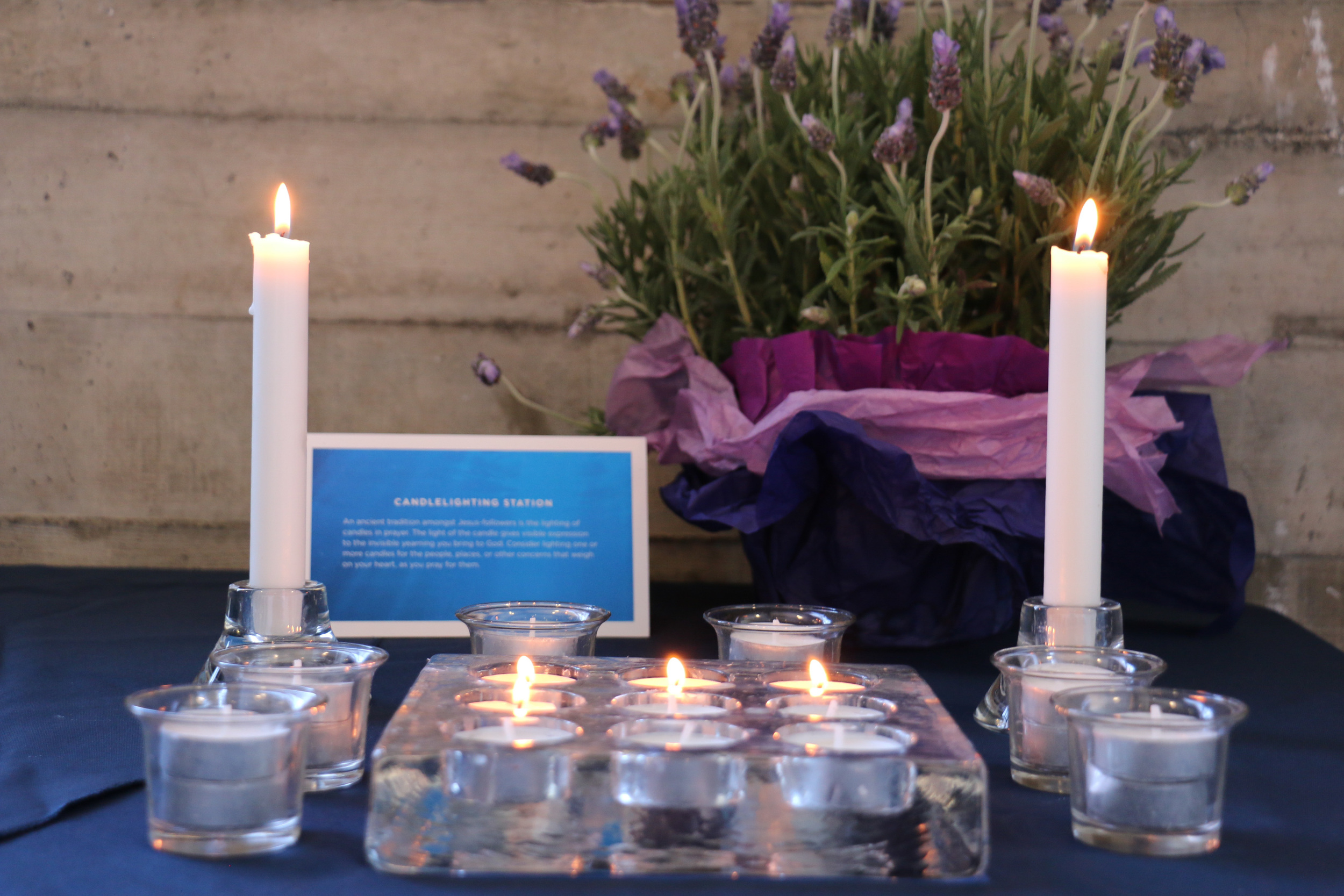 The candle lighting station, where folks are welcome to light candles as they pray for their concerns.