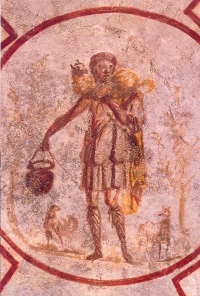 Early Roman image of Jesus as a good shepherd.