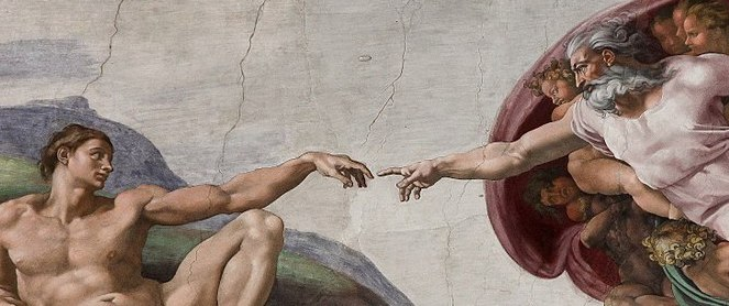 Michelangelo's Creation of Adam on the ceiling of the Sistine Chapel