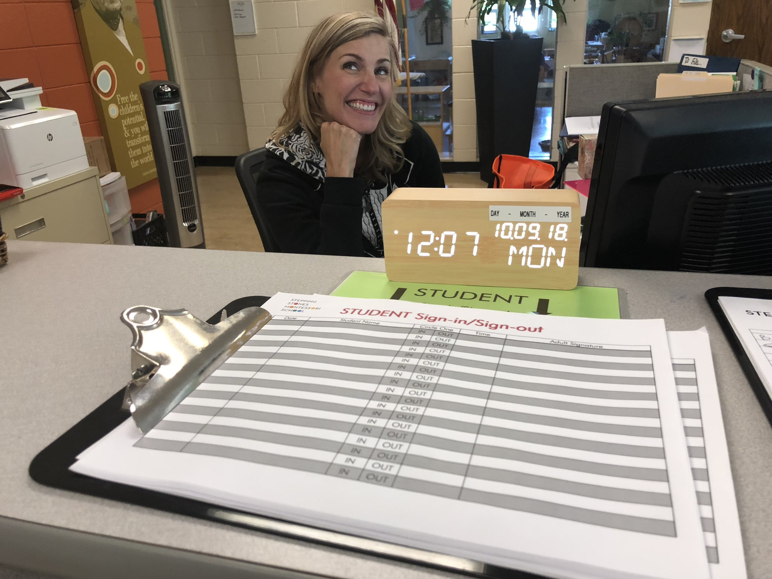 Sarah B. and her sign-in sheet