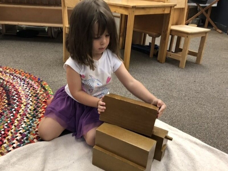 "A three-year-old student manipulates the Brown Stair. Made from solid wood, this work helps the child refine her baric and visual discrimination. She has seen how it is graded from ""thickest"" to ""thinnest"" and is allowed as much time and repetition as is needed to put it in order. She doesn't need an adult to correct her as the size and weight will help her organize the prisms accordingly."