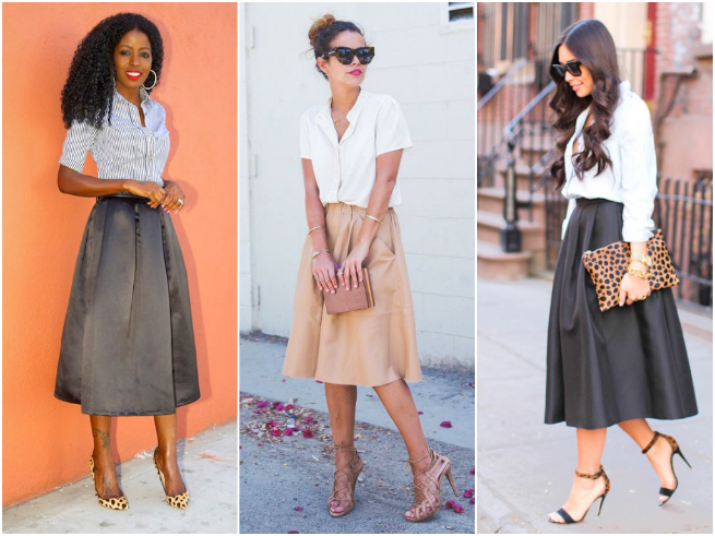 Midi Skirt Styled with a Button-down