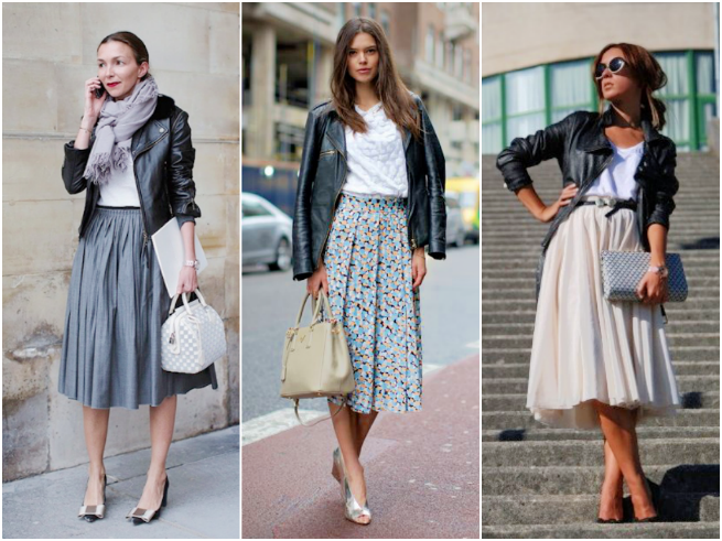 Midi Skirt Styled with a Leather Jacket