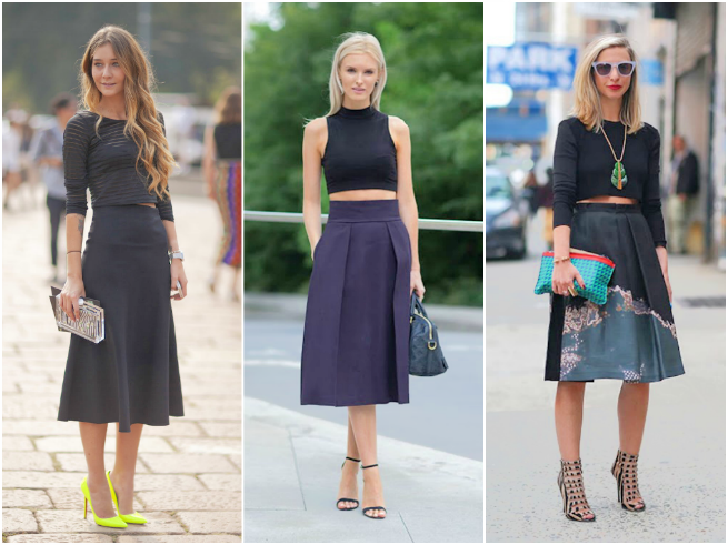 Midi Skirt Styled with a Crop Top