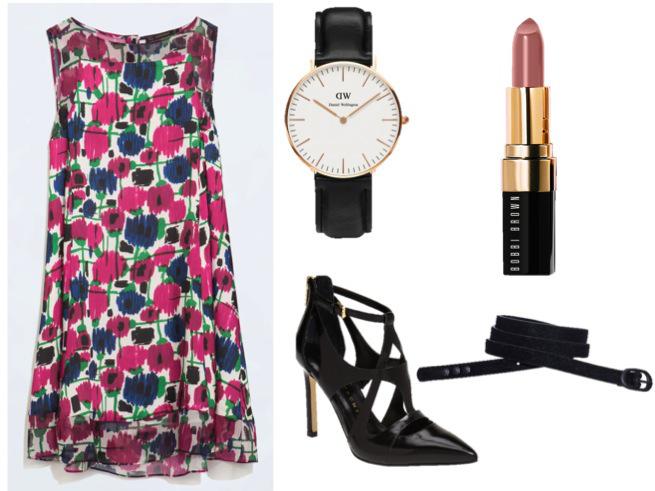 Zara Dress- $79.90 Ivanka Trump Heels-$149.95 Scotch&Soda Skinny Belt-$29  Daniel Wellington Classic Sheffield Lady- $199  Bobbi Brown Lipstick-$26.00