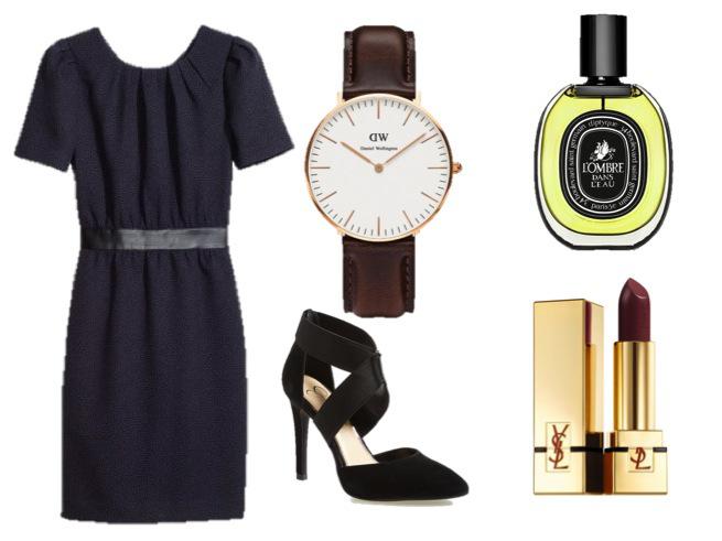 H&M Dress-$49.95 Jessica Simpson Pump-$88.95   Daniel Wellington Watch-$199.00   Diptyque L'Ombre dans l'ea-$140.00 YSL Lipstick 'Rouge Pur Couture'-$35.00
