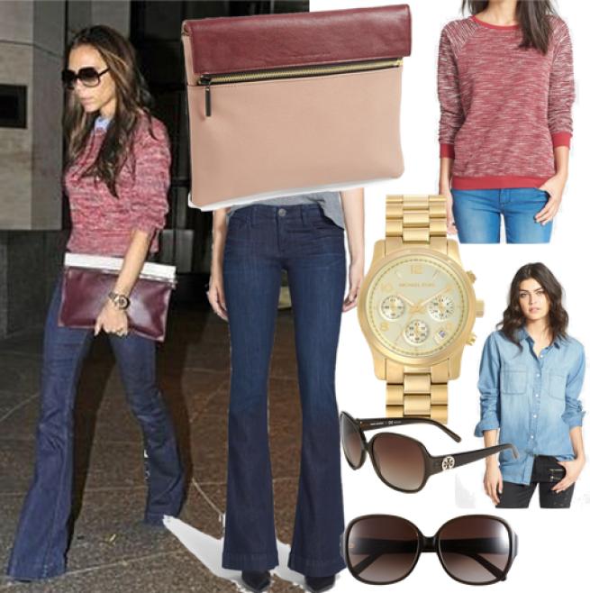Clutch  //    Jeans  //    Sweater  //    Watch  //    Shirt  //    Sunglasses