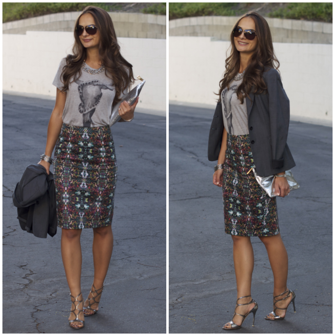 print pencil skirt styled by practicallyfashion