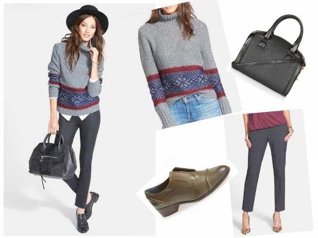 Sweater $78  //  Shoes $99.95  //  Bag $39.99  //  Pants $79