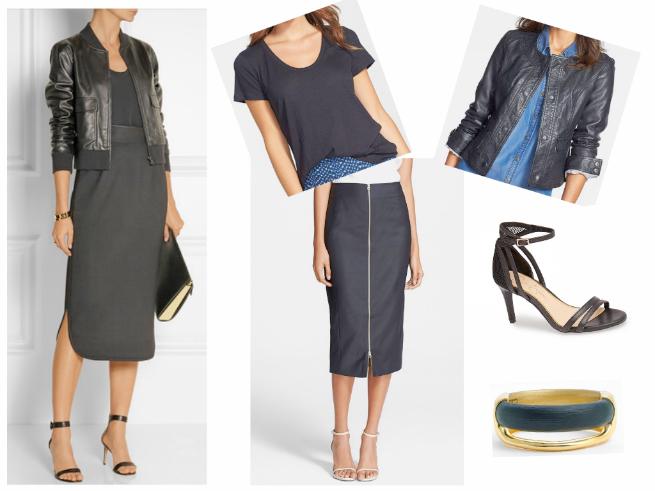 Skirt $225  //  Tee $25  //  Jacket $78  //  Bag $325  //  Sandals $39.47  //  Bangle $245