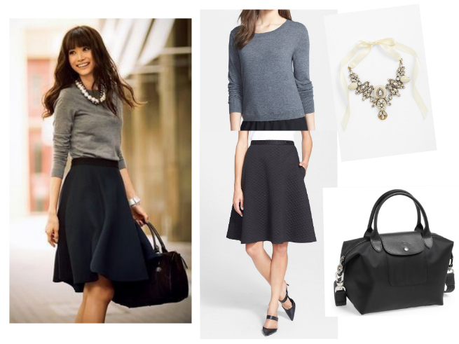 Skirt $325   //     Sweater $59   //     Necklace $68   //     Bag $225