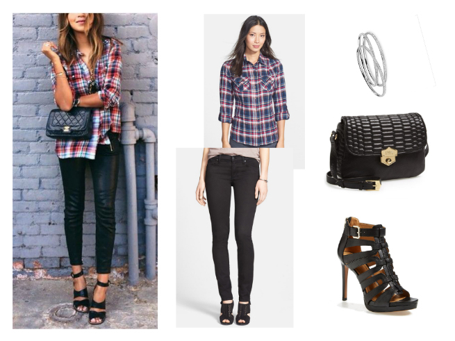 Black Pants $119.26   //     Plaid Shirt $68   //     Bangles $48   //     Crossbody Bag $113.98   //     Shoes $89.90