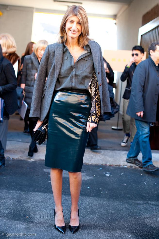 Patent leather pencil skirt for work
