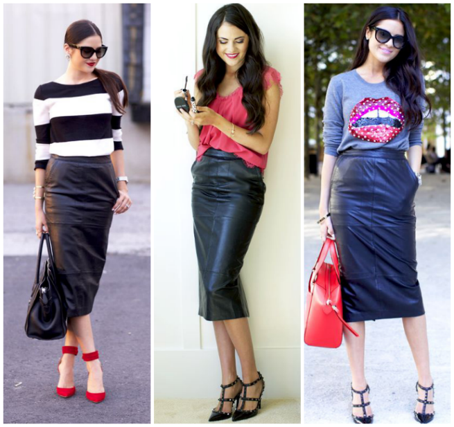 Black leather pencil skirt for work