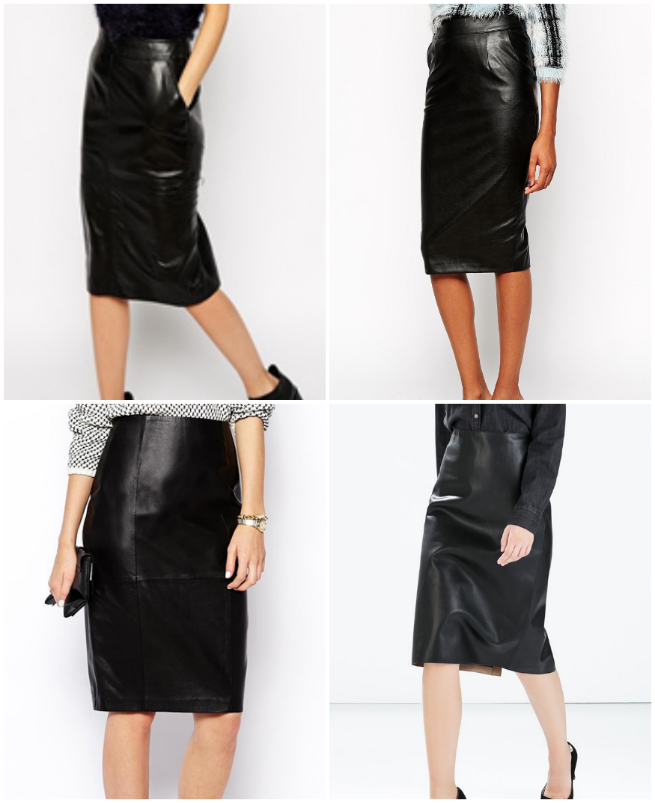 River Island Leather Skirt $170.55  //  River Island Leather Look Skirt $56.85   ASOS Pencil Leather Skirt $170.55  //  Zara Synthetic Leather Skirt $59.90