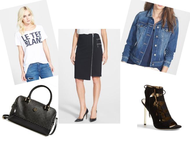 Tee $37.80   //   Bag $264.65   //   Skirt $59.40   //   Denim Jacket $156.75   //   Sandals $95.96