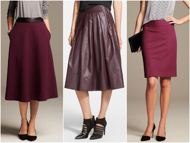 BR Midi $98   //   Leith 'Town' Pleated Skirt $78  //   BR Pencil $79.50