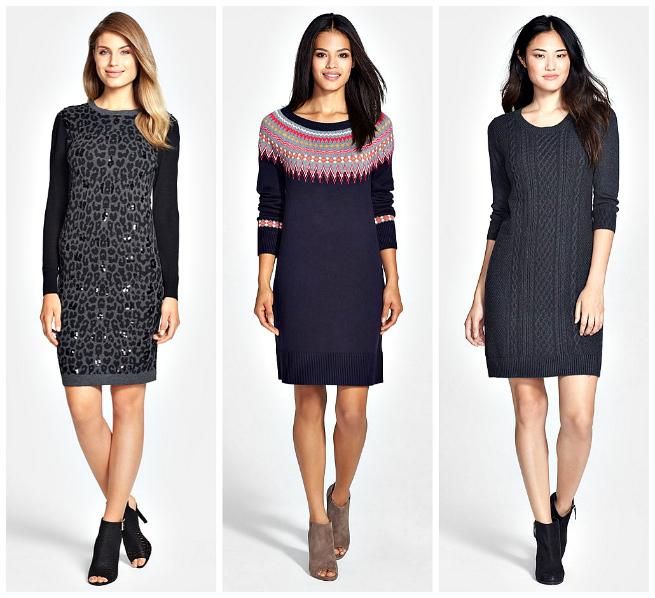 Sequin Dress $78.98   //   Fair Isle Dress $98   //   Cable Knit Dress $74