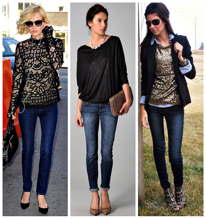 Jeans and Festive Top Outfits