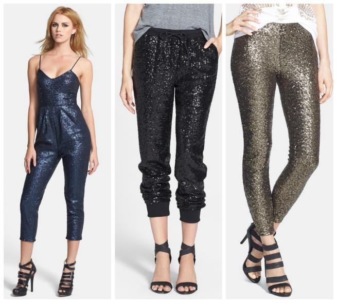 Blue Sequin Jumpsuit $78   //   Black Sequin Pants $98   //   Gold Sequin Pants $58