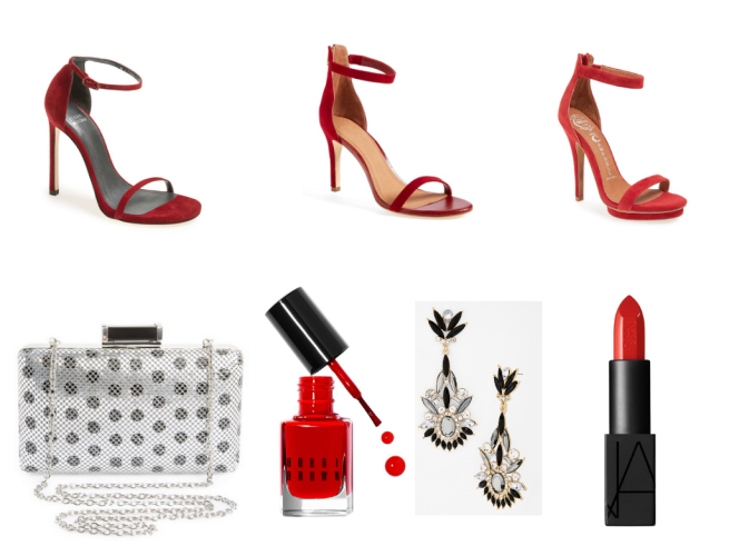 Red Shoes 1 $398   //   Red Shoes 2 $180   //   Red Shoes 3 $139.95 //   Clutch $58   //   Nail polish $15   //   Earrings $22   //   Lipstick $32