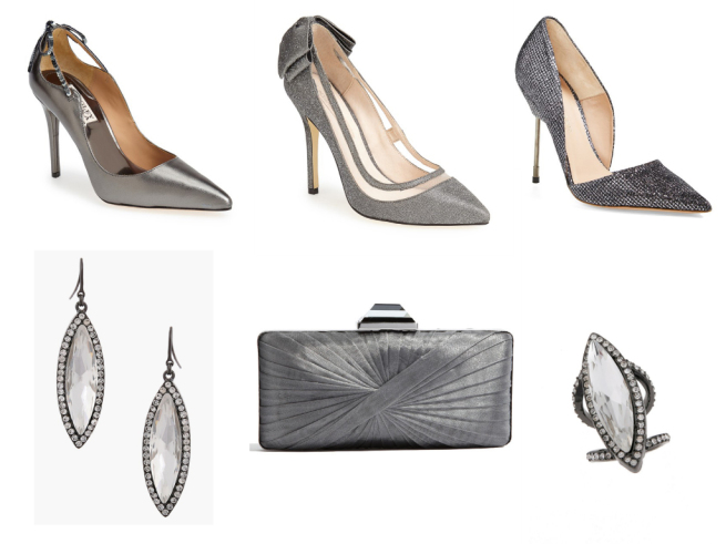 Shoes 1 $122.49   //   Shoes 2 $129.95   // Shoes 3 $274.98 // Earrings $68   //   Clutch $88   //   Ring $78