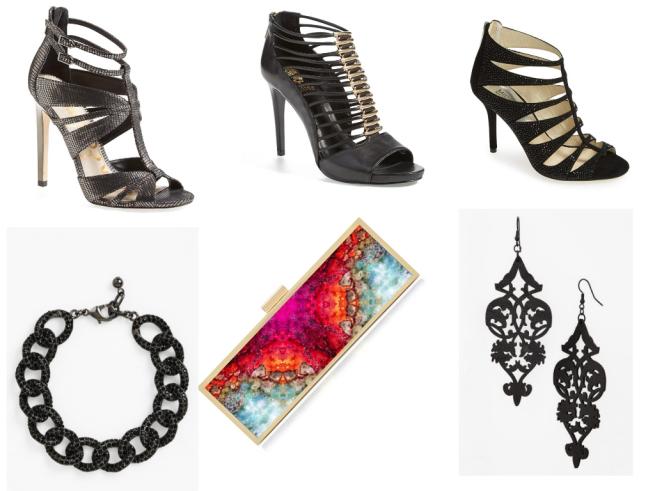 Shoes 1 $74.96   //   Shoes 2 $158.95   // Shoes 3 $234.95 // Bracelet $23.20   //   Clutch $138   //   Earrings $22