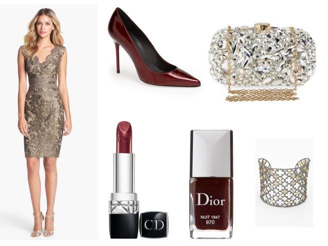 Dress $288   //   Shoes $355   //   Clutch $268   //   Lipstick $35   //   Nail polish $25   //   Cuff $245