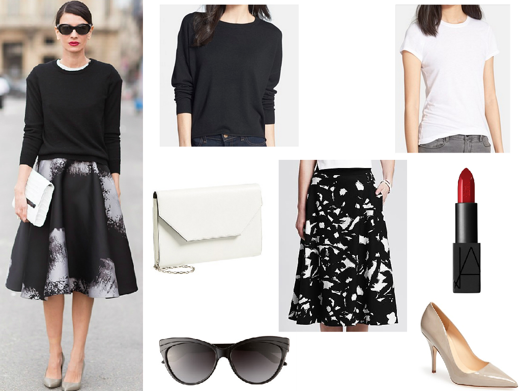 Sweater  Trouve $49.90  // Skirt  Banana Republic $120  // White Tee  Vince $45  // Clutch  Halogen $78  // Sunglasses  Dior $295  // Shoes  Kate Spade $298  // Lipstick  Nars Rita $32