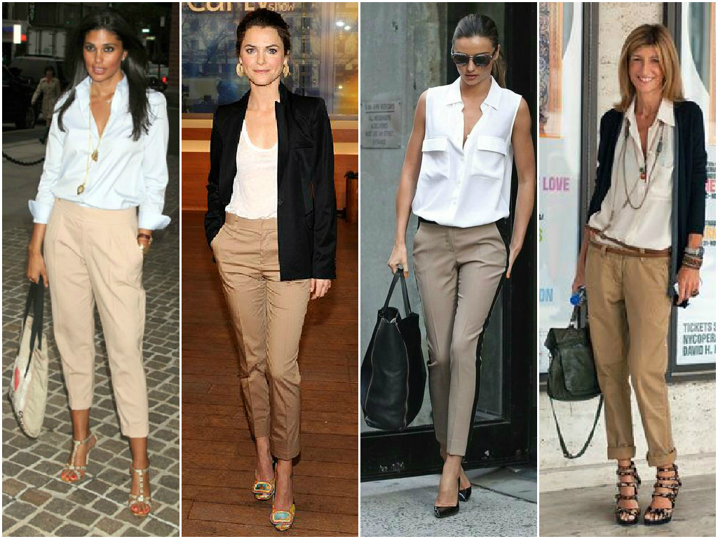 Khaki pants lookbest with a white top, but I have worn mine with a baby blue blouse like the first outfit. I love pairing it with a darker colored blazer either navy blue or black.